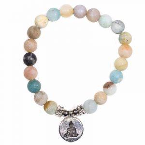 Edelsteen Armband Amazoniet met Boeddha Elastisch