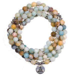 Edelsteen Armband Amazoniet Mala met Boeddha (8 mm Kralen)