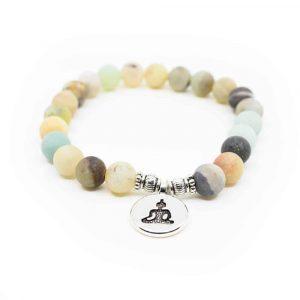 Edelsteen Armband Amazoniet Mala Elastisch met Boeddha