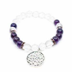 Edelsteen Armband Amethist/ Bergkristal met Abstracte Bedel