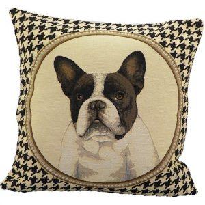 Gobelin 2-zijdig Kussen Pied de Poule Franse Bulldog (45 x 45 cm)