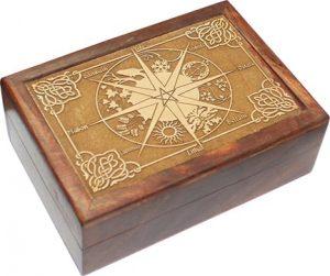 Houten Tarotdoos met Gegraveerde Pagan-Wicca Kalender