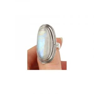 Bewerkte Zilveren Ring met Maansteen Regenboog (Model 9 - Maat 17